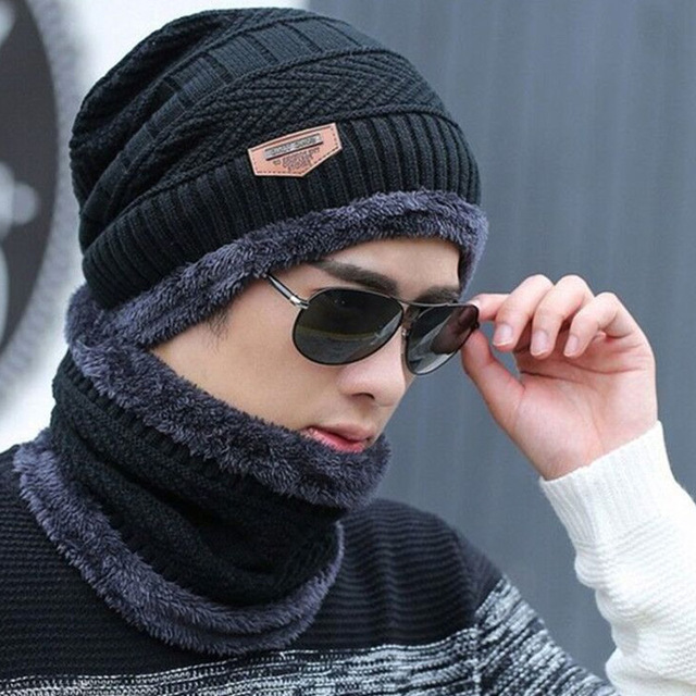 2020 Winter Hats For Men Skullies Beanie Hat Winter Cap Men Women Wool Scarf Caps Set Balaclava Mask Gorras Bonnet Knitted Hat 1
