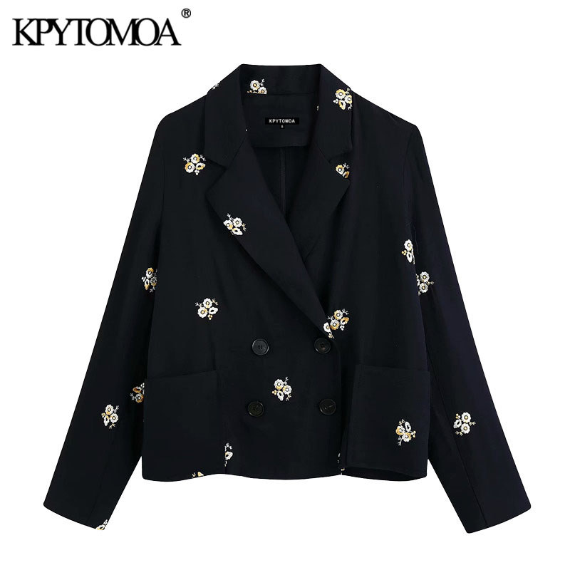 KPYTOMOA Women 2020 Fashion Double Breasted Floral Embroidery Blazer Coat Vintage Long Sleeve Pockets Female Outerwear Chic Tops