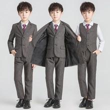 Fashion Boys Formal Wedding Suit Set Kids Solid Wind Coat Blazer