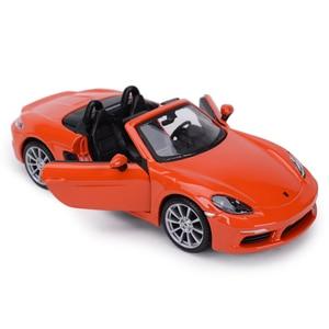 Image 2 - Bburago 1:24 Porsche 718 Boxster Sports Car Static Die Cast Vehicles Collectible Model Car Toys