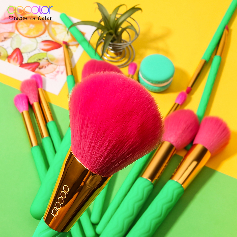 Image 5 - Docolor 14Pcs Professional Makeup Brushes Set Powder Foundation Eyeshadow Make Up Brushes New Heat Makeup Brush Cosmetics Tools-in Eye Shadow Applicator from Beauty & Health