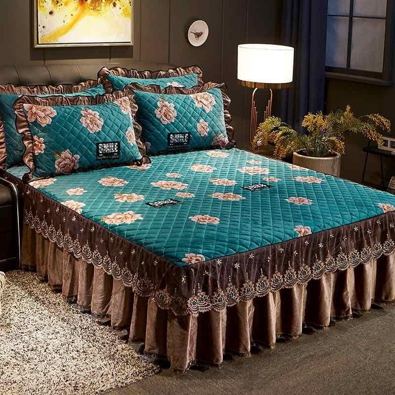 42 3/5 個 150X20 0 センチメートル/180 × 200 センチメートルプリント豪華なキルトのベッドカバーセットフリルレーススカートマッチ枕ベッドカバーセット