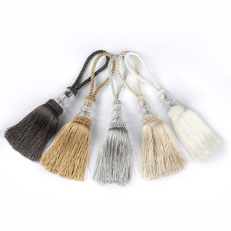1Pc Tassel Fringe Trim DIY Craft Tassels Crystal Beaded Hanging Key Tassels Sewing Room Curtain Accessories Tassels Ribbon