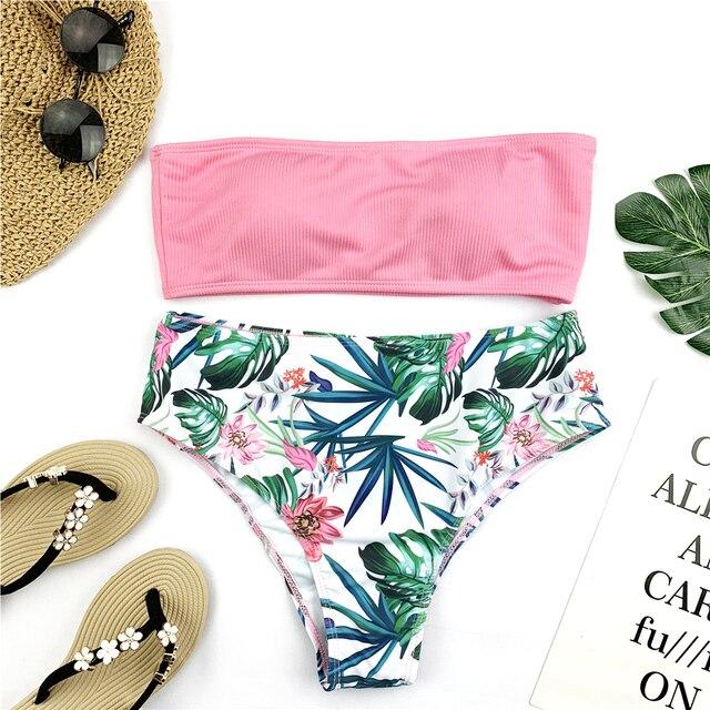 Riseado Bandeau High Waist Swimsuit Set 1