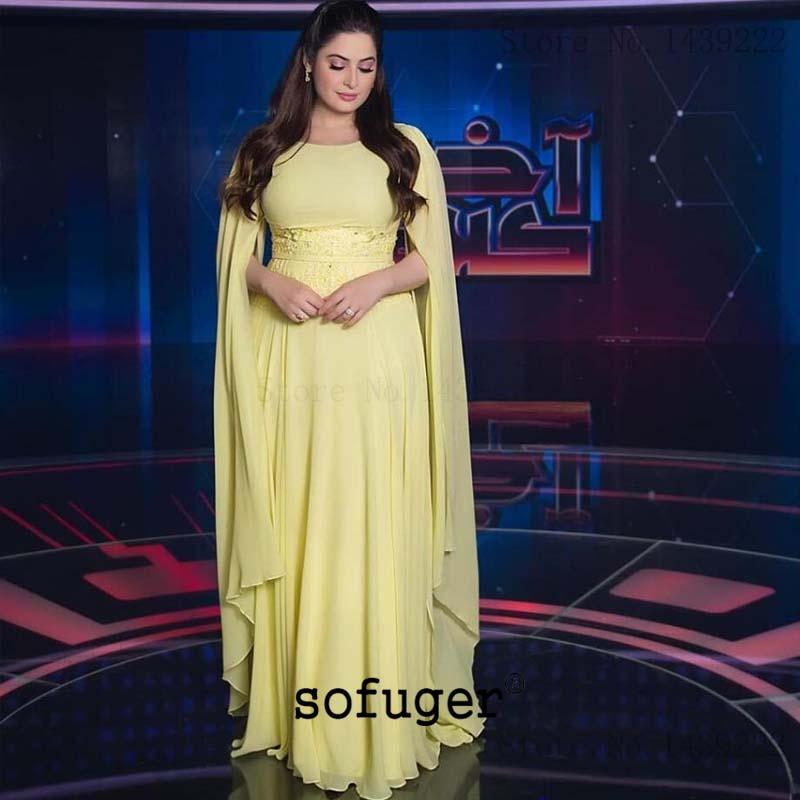 Yellow Scoop Elegant Evening Dresses Prom Long Pleat Arabic Special Occasion Robe De Soiree Plus Formal Gown