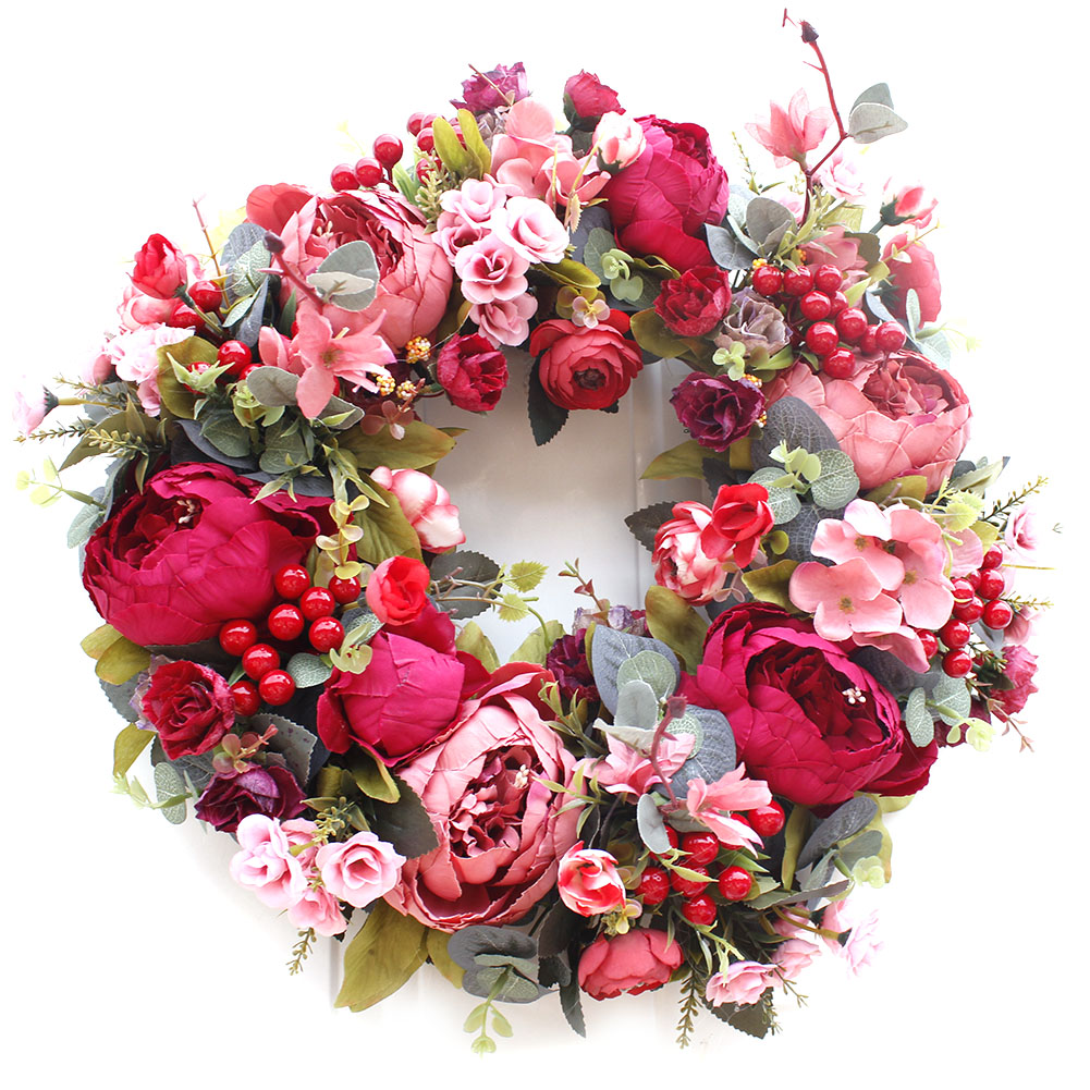 Artificial Peony Wreath Flowers Rattan String Vine With Green Leaves For Home Wedding Garden Decoration Hanging Garland Wall