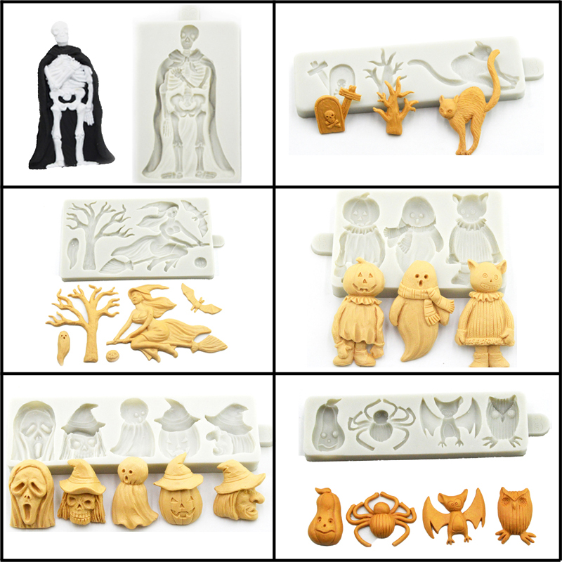 Meibum Halloween Theme Silicone Fondant Cake Mold Skeleton Ghosts Pumpkin Pie Witch Bat Cat Sugar Craft Chocolate Decorate Mould