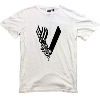 Vikings T Shirt New White Tshirt Logo Tv Series Ragnar Lothbrok Movie Film 2018 Summer T Shirts For Men Hot Selling 100 % Cotton