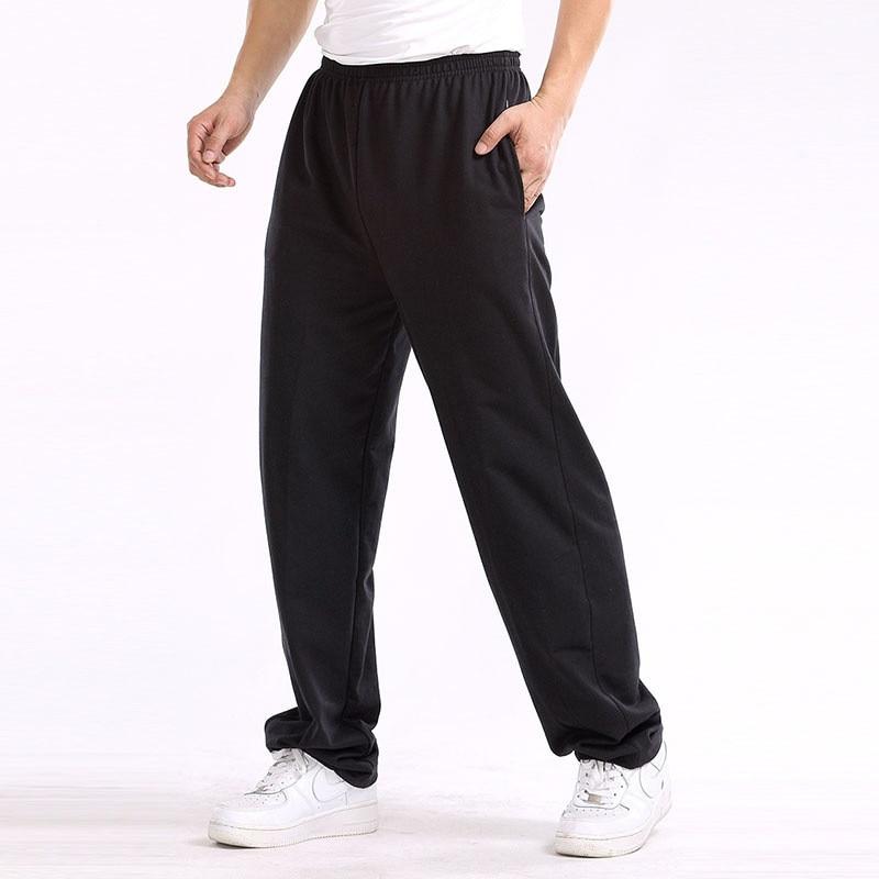 Spring Autumn Men Baggy Loose SweatPants Men Trousers Solid Color Elastic Cotton Casual Straight Pants