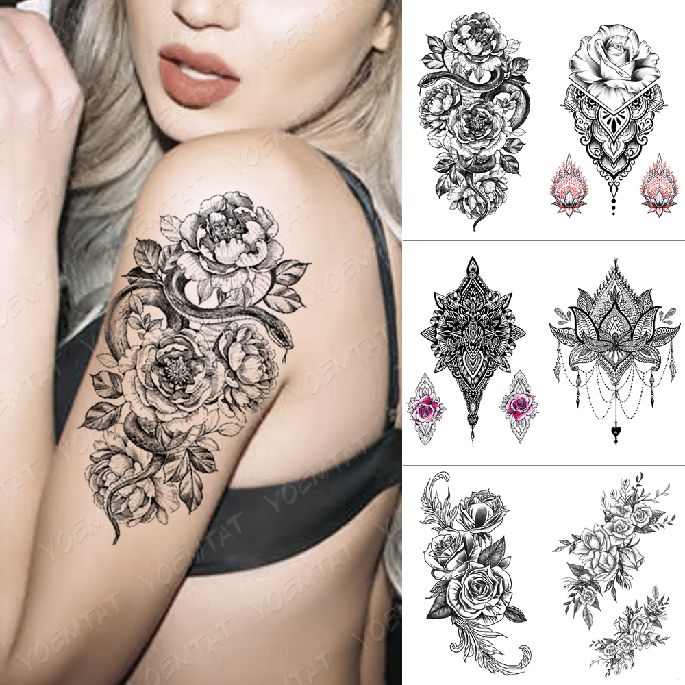 Waterproof Temporary Tattoo Sticker Flower Rose Peony Lace Skull Flash Tattoos Snake Leaf Body Art Arm Fake Tatoo Women Men
