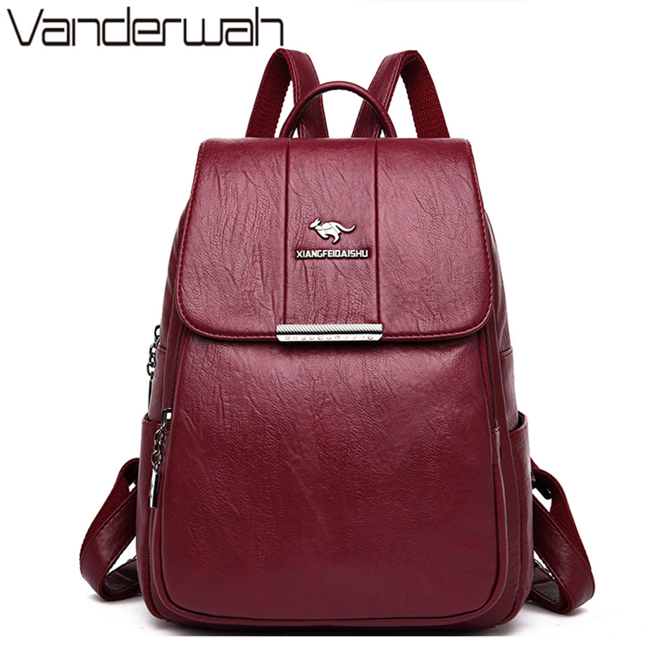 New Kangaroo Brand Large Capacity Women Leather Backpacks For Teenage Girls Mochilas Ladies Bagpack School Bag Sac A Dos Femme