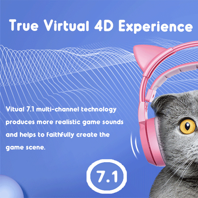 SOMIC Pink Gaming Headset 7.1 Surround-Sound G951 Cat Ear Stereo Noise Cancelling Head Phone Vibration LED USB Headsets for Girl 3