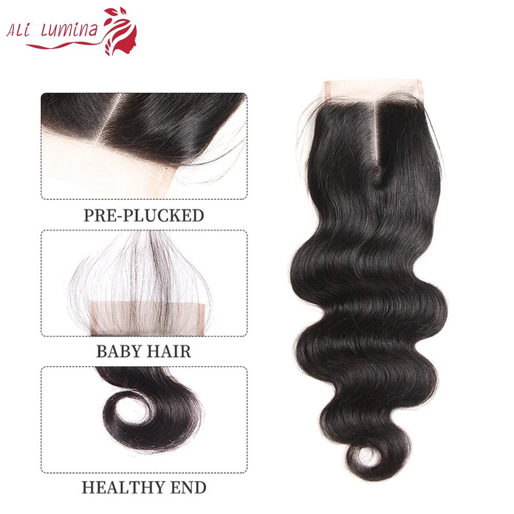 Body Wave Hair Bundles With Lace Closure Natural Color 100%   Bundles  Hair   4
