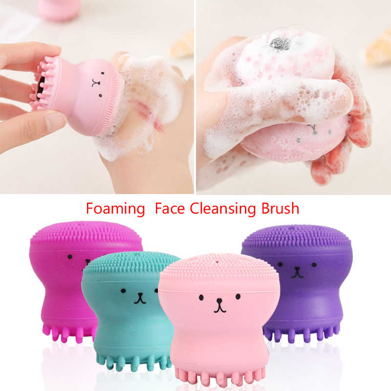 Hot Silicone Octopus Foaming  Face Cleansing Brush Facial Cleanser Wash Face Brush Cleaning Instrument Silicone Skin Care Tool