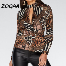 Animal Print Blouse Shirt Women Casual Leopard Chiffon Blouse Cut Out V-Neck Blouses Loose Ladies Tops Blusas Mujer De Moda 2019 cut out tie front abstract print blouse