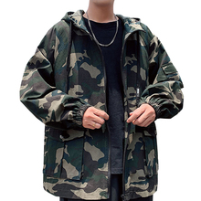 Men's Camouflage Zipper Jacket Hip Hop Loose Jackets Coats Long Sleeve Outwear Streetwear Camouflage High Quality Male Coat