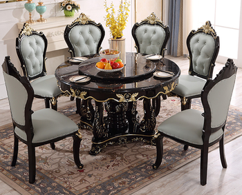 European-style all-solid wood dining table and chair combination luxury marble dining table big round villa household dining tab hq classic 40 inch 990mm od muted and smooth aluminium alloy lazy susan turntable swivel plate for big dining table