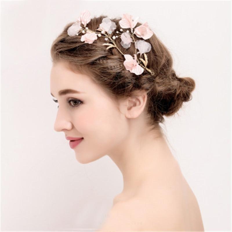 New Pink Flower Bridal HairPin Women Jewelry Wedding Accessories Handmade Bridal Headwear Bride Headdress Women Charms Headpiece