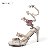 Summer Women Sexy Snake Style Gladiator High Heel Sandals Female Rhinestones Flower Stilettos for Ladies Prom Party Shoes Mujer