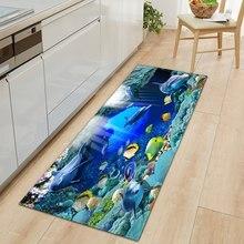 Mundo subaquático esteira da cozinha entrada capacho 3d padrão quarto casa decoração do assoalho sala de estar tapete do banheiro anti-deslizamento