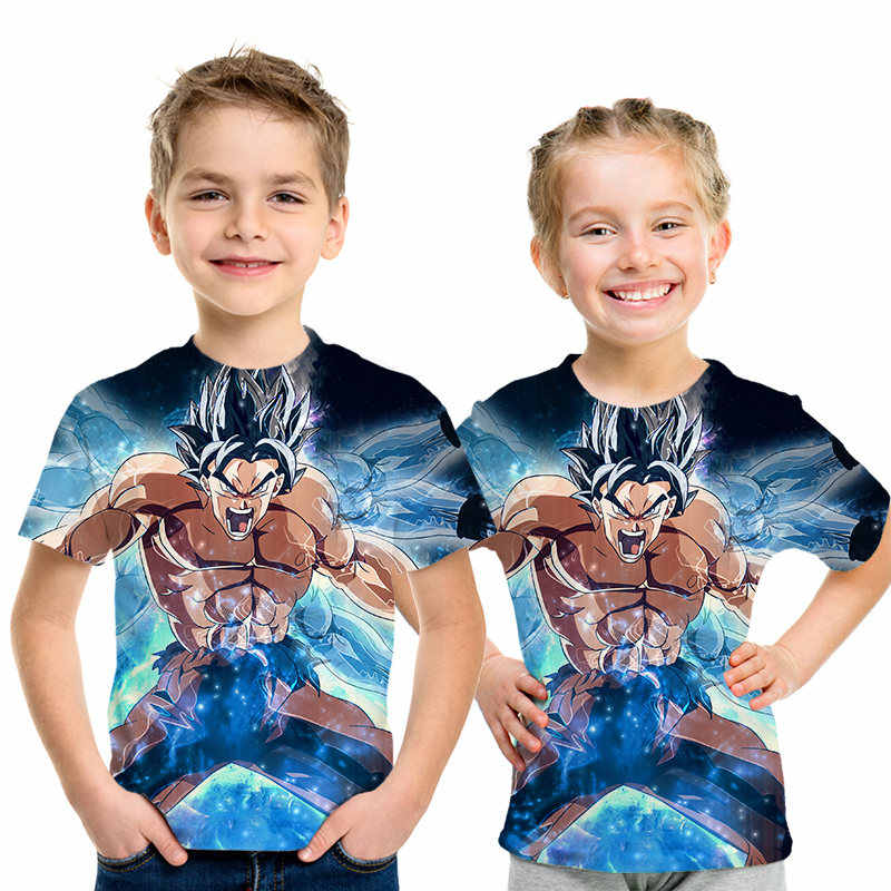 Футболки с драконом и мячом Z Детская летняя модная футболка для мальчиков и девочек с 3D принтом Супер Saiyajin Son Goku Black Zamasu Vegeta Dragon