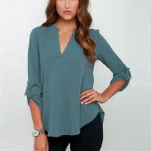 Осенняя Однотонная рубашка со сложенным рукавом свободного размера плюс 5XL шифоновая блузка с длинным рукавом Топы новые женские сексуальные повседневные блузки с v-образным вырезом