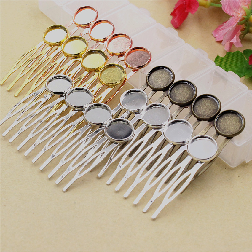Fit 12mm Cabochons Copper+iron Comb Hairpins Blank Cabochon Settings Hair Clips DIY Making Accessories 40x55mm 3pcs K05254