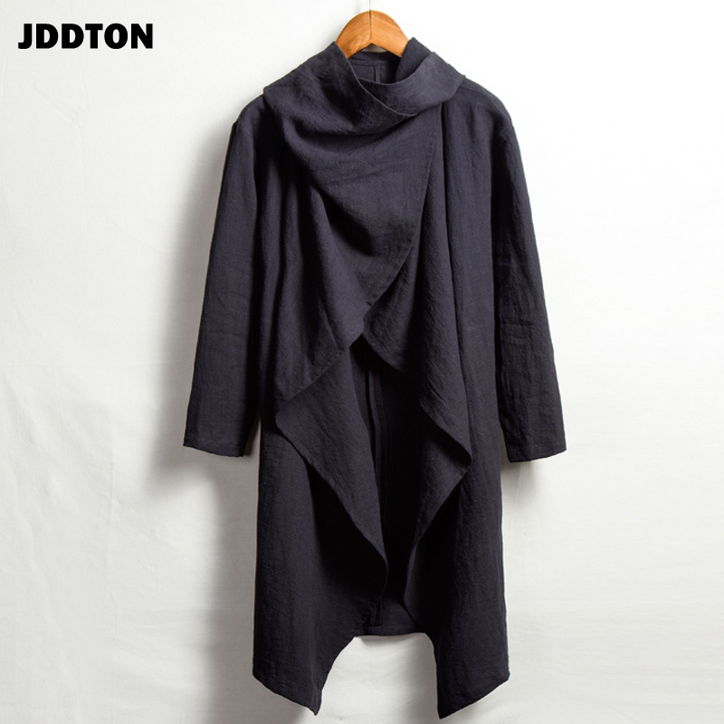 JDDTON Men's Summer FashionKimono Cardigan Jackets Outerwear Cotton And Linen Solid Long Coats Loose Casual Male Overcoat JE031