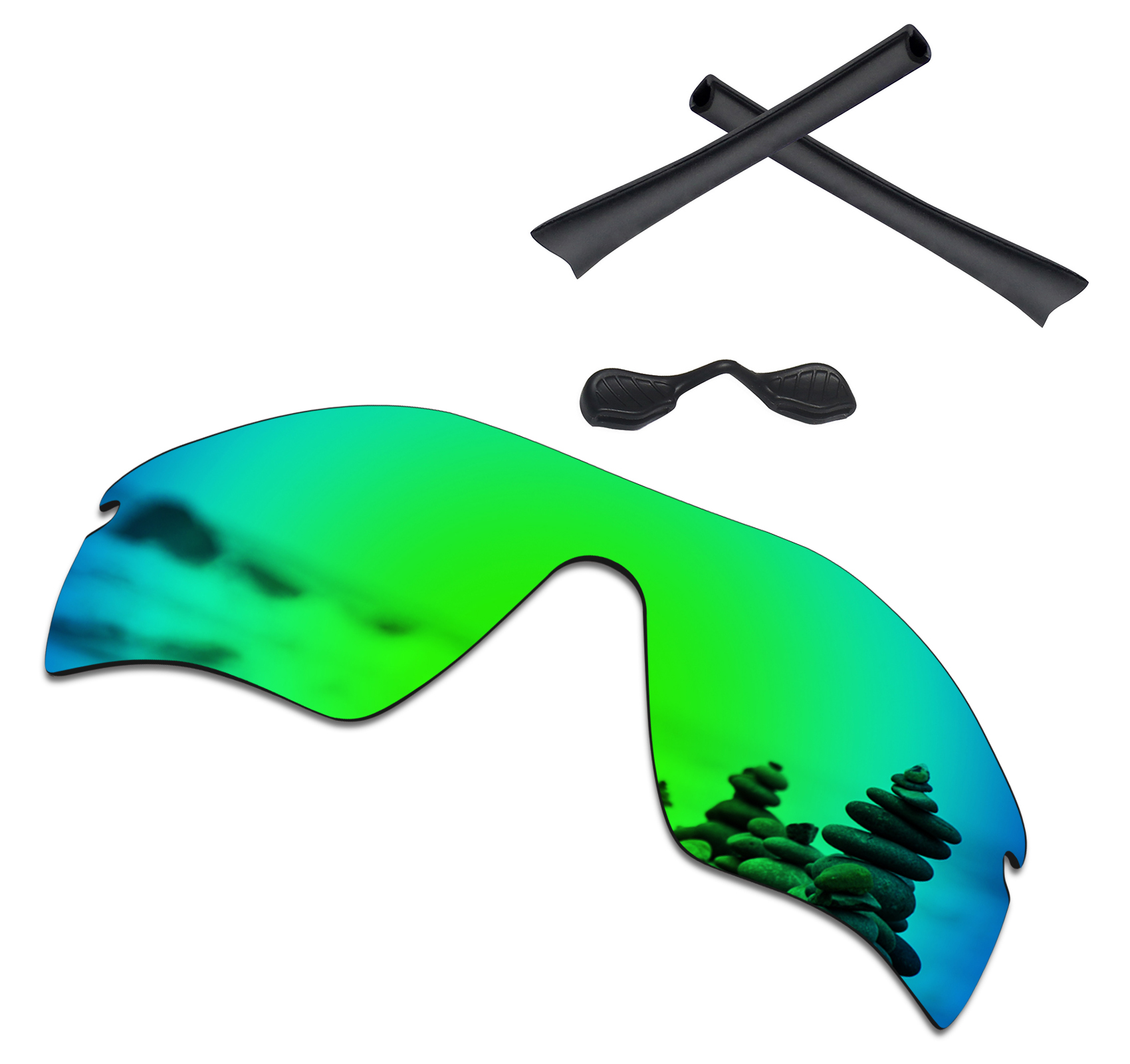 SmartVLT Emerald Green Polarized Replacement Lenses and Black Rubber Kit for Oakley Radar Path Sunglasses