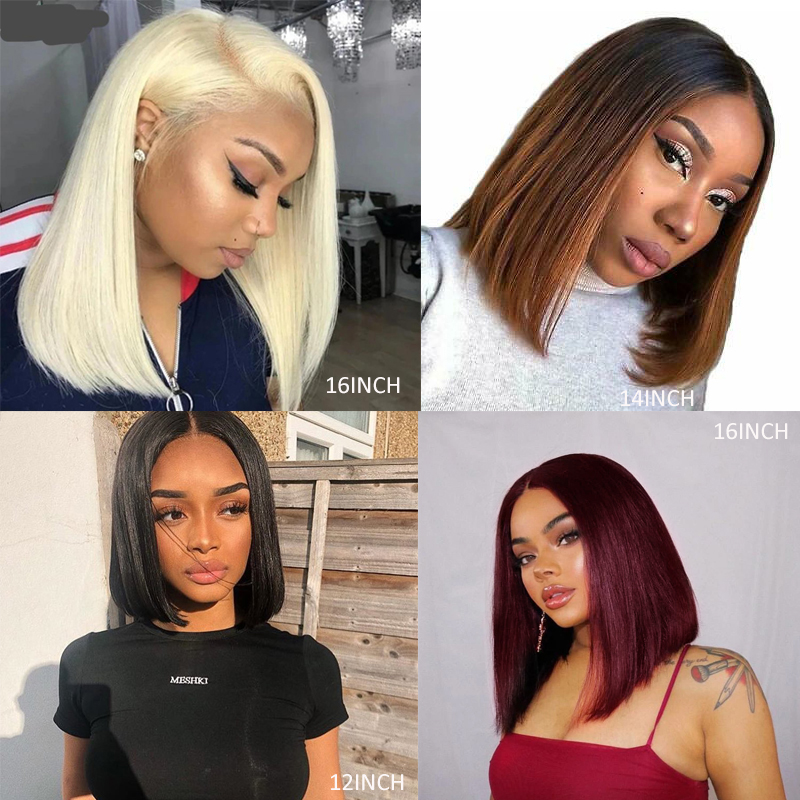 Natural Color 13x4 Lace Front Human Hair Wigs Short Bob Red Straight Lace Wigs Pre Plucked 150% Brazilian Remy Hair Wig KEMY