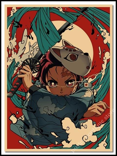 Kimetsu no Yaiba Kamado Tanjirou Poster Stickers S Anime Demon Slayer