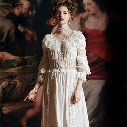 Herbst Nachthemd Frau Dame Lange Kleid Luxuriöse Spitze Baumwolle Lange Nacht Kleid Vintage Dressing Kleid Europäischen Mittelalterlichen Stil