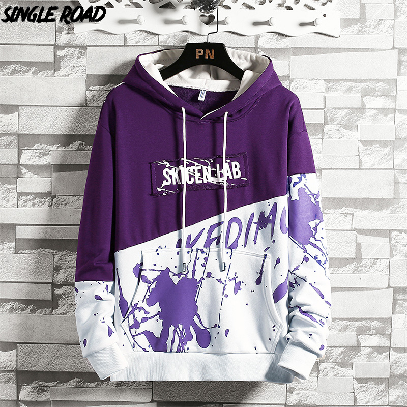 SingleRoad Men's Hoodies Oversized Harajuku Japanese Streetwear Sweatshirts Hip Hop Patchwork Purple Hoodie Men Sweatshirt Male