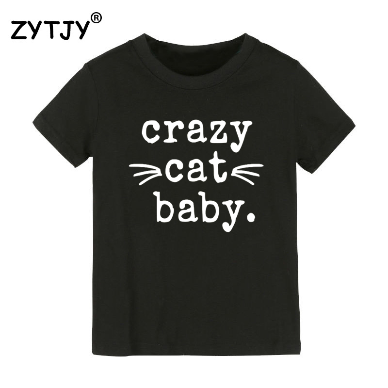 Crazy Cat Baby Print Kids tshirt Boy Girl t shirt For Children Toddler Clothes Funny Tumblr Top Tees Drop Ship CZ-77 image
