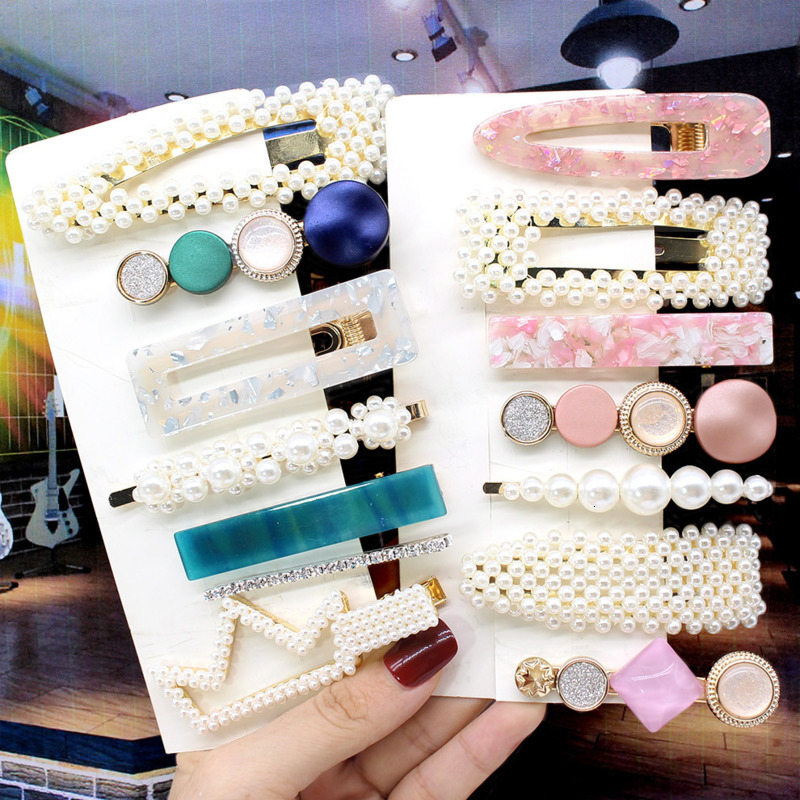 1 Set New Pearls Acetate Hair Clips Sets Colorful Geometric Hairpins Fashion Women Hair Accessories Girl Sweet Barrettes
