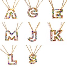 Women Charm Hollow Alphabet Necklace Colorful Rhinestone Initial Letter Pendant collares Bride Wedding Jewelry