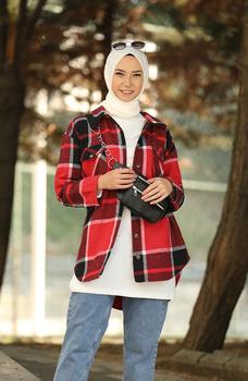 Minahill czarny Claret czerwona koszula moda muzułmańska islamska odzież skromne topy arabska odzież długa tunika dla kobiet 5330-02 tanie i dobre opinie TR (pochodzenie) tops Aplikacje Bluzki i koszule Octan Dla dorosłych