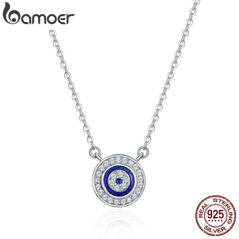 BAMOER Hot Sale 100% 925 Sterling Silver Lucky Blue Eye Clear CZ Pendant Necklace Women Luxury Sterling silver Jewelry SCN165(China)