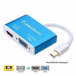 Złącza thunderbolt Mini displayport hub do HDMI 4K Mini DP kabel vga 2 w 1 do laptopa z adapterem do projektora MacBook na