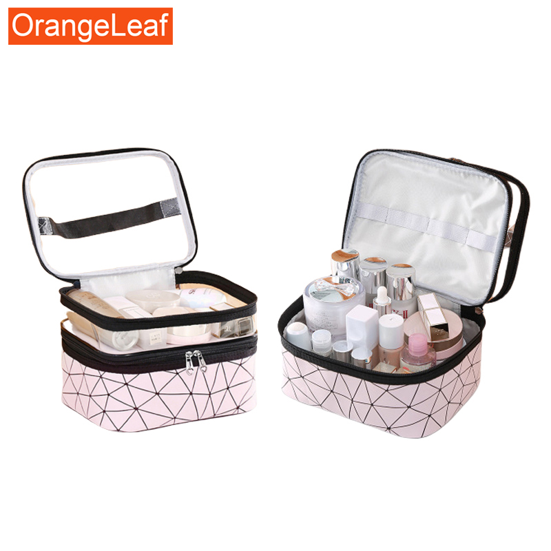 2020New Women Travel Cosmetic Bag PU Make Up Organizer Bags Travel Waterproof Toiletry Storage Pouch Beautician Makeup Cases Box