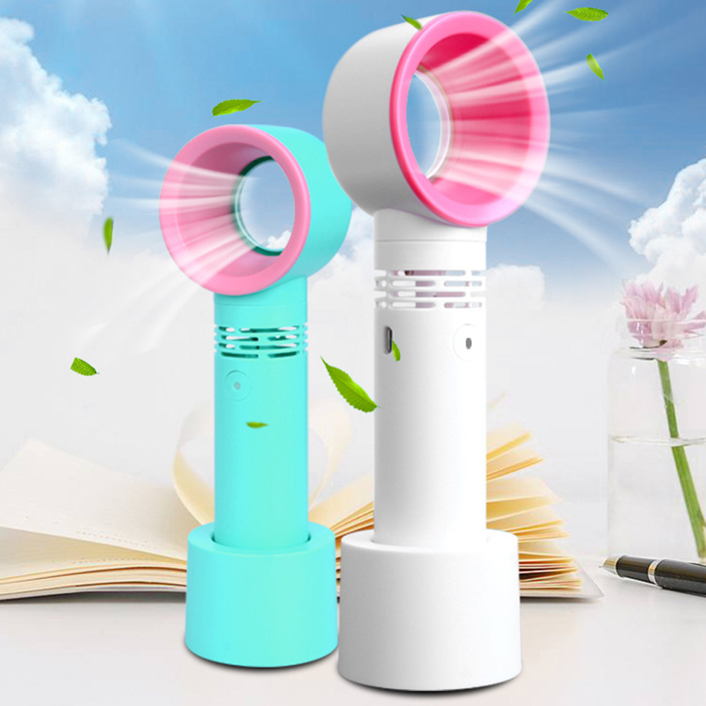 USB Rechargeable Portable Bladeless Fan Handheld Mini Cooler No Leaf Handy Fan With 3 Fan Speed Level LED Indicator