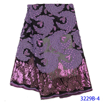 2020 Sequin Lace Fabric Mesh Purple Color African Embroidery Sequence Nigerian French Party Latest High Quality Tulle Hot Sale