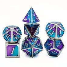 Die neue zink-legierung metall würfel lila und blau zwei-farbe serie metall multi-konfrontiert würfel set DND rolle-spielen RPG bord spiel