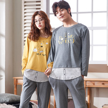2019 autumn pajamas long-sleeved cotton pyjamas couple cartoon sleepwear casual fashion men women clothing
