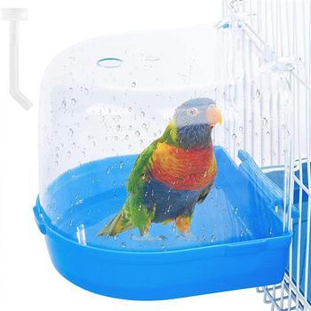 Oczko wodne pudełko na klatkę papugi Parakeet wiszące Birdbath wanna oczko wodne wanny wodne dla ptaków Pet Bird Bowl akcesoria do klatek tanie i dobre opinie Okonie CN (pochodzenie) Bird Bath Multi Cage Z tworzywa sztucznego parakeet cage accessories bird bath for cage parakeet bath