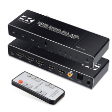 2020 HDMI Matrix 4x2 4K @ 60Hz HDR 4 in 2 YUV 4: 4: 4 Optical Splitter Switch SPDIF + 3.5mm Audio Jack Extractor HDMI Switch hdmi matrix switch steyr 4k 6x2 hdmi matrix switch splitter with remote control arc spdif optical audio extractor switch