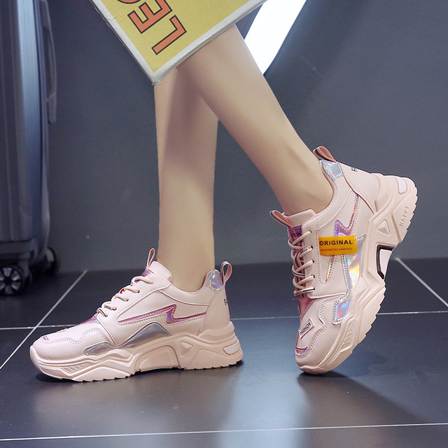 Brand Designer Chunky Platform White Sneakers Women Causal Shoes 2019 New Fashion Laser Thick Bottom Shoes Woman Trainers Ladies 1