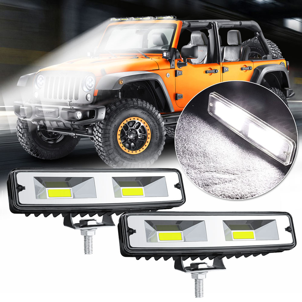 12V 48W 2-LED Work Light Bar Lamp Beads Spotlight Off-Road Vehicle 6500K Shockproof Auto Vehicles Lights