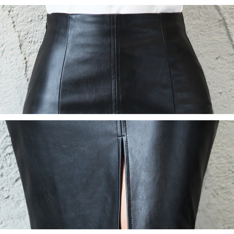Aachoae Black PU Leather Skirt Women 2020 New Midi Sexy High Waist Bodycon Split Skirt Office Pencil Skirt Knee Length Plus Size 5