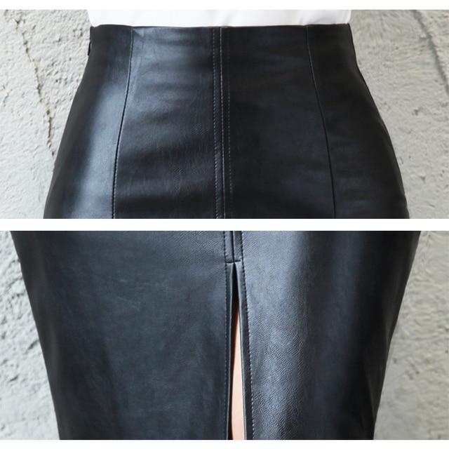 Aachoae Black PU Leather Skirt Women 2020 New Midi Sexy High Waist Bodycon Split Skirt Office Pencil Skirt Knee Length Plus Size 5